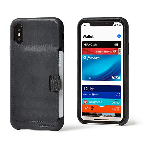 Distil Union Wally Wallet iPhone Xs Case - Genuine Leather Protective Case (Black)