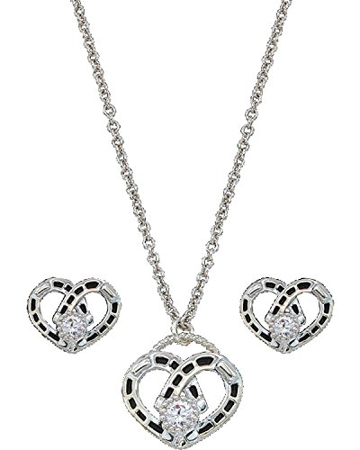 Montana Silversmiths Women's Horseshoe Heart Necklace And Earrings Set Silver One Size - Heart Montana Silversmiths