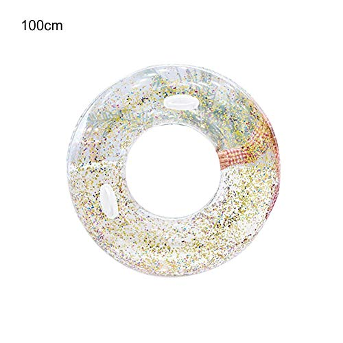 - Taimot Inflatable Transparent Ring Swim Tube of 2 Colors with Eco-Friendly Thickened Sequins Swimming Ring Outdoor Beach Party Play Pool Water Fun Toy for Adults Children Lifebuoy Water Toy Handle