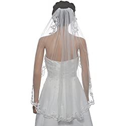 "1T 1 Tier Flower Scallop Embroided Lace Crystal Veil - Ivory Fingertip Length 36"" V455"