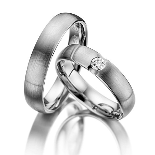 Stylish 14k White Gold Couples Wedding Rings 05 Carats 5 Mm
