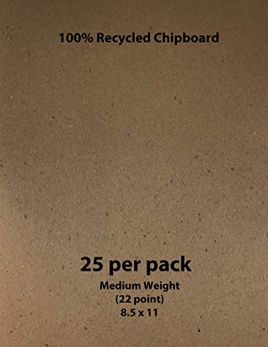 Medium Weight Chipboard (22 Point) - Brown, 8.5 x 11-25 per Pack ()