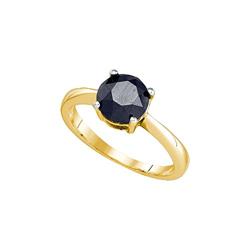 Jewels By Lux 10kt Yellow Gold Round Black Color Enhanced Diamond Solitaire Bridal Wedding Engagement Ring 2.00 Cttw Ring Size 8 (Black Diamond Solitaire Enhanced)