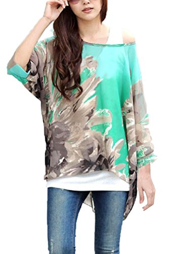 iNewbetter Womens Floral Batwing Sleeve Chiffon Beach Loose Blouse Tunic Tops (Pattern 11) ()