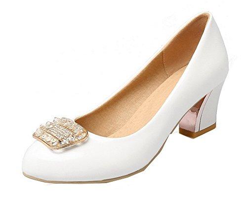 Agoolar Chaussures Tire L Femme Unie Verni Couleur Rond rRrAwf8q