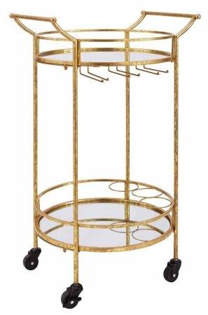 Linon Round Gold Metal Bar Cart (Cart With Bar Storage Glass)