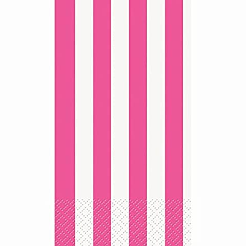 Hot Pink Striped Paper Guest Napkins, 16ct