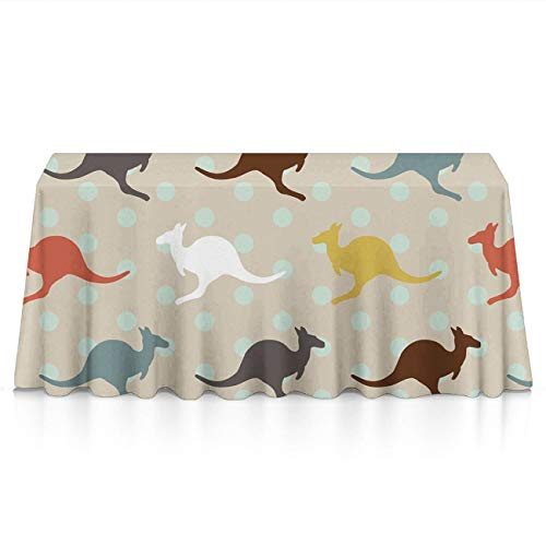Soft Table Cloth for Family Dinners, Everyday Use, BBQ - Unique Kangaroo Australia Spillproof Wrinkle Free Table Protectors Polyester Dinning Tabletop Decoration -