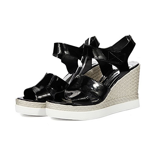 AllhqFashion Womens Open Toe High-Heels Patent Leather Solid Hook-and-Loop Platforms & Wedges Black JH6AMight