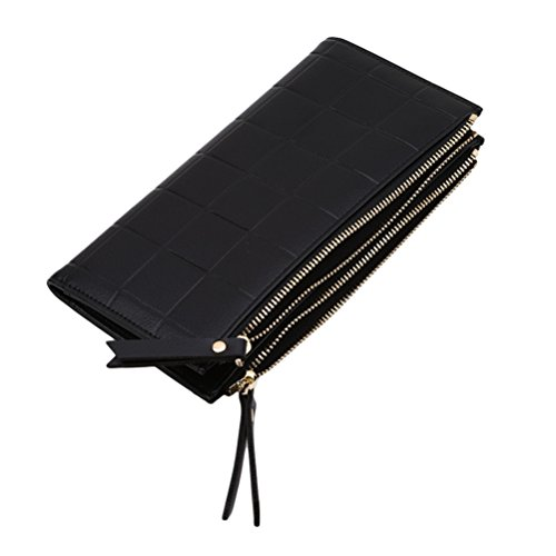 Handbag Pu Card Long Purse Leather Holder Clutch Red Wine Women's with Black Wallet Zipper Flybloom wqYIE
