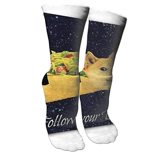 WCHUNMU New Doge in Taco Chicken Rolls Flying Across The Galaxy Space Fllow Your Dream Amusing Mouse Pad Athletic Tube Stocking Women's Men's Classics Knee High Sock Sport Long Socks One Size