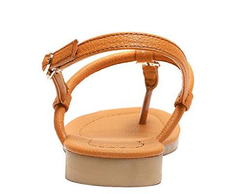 Sandales Couleur à Boucle Femme Jaune Mélangee Talon Matière Unie Bas AgooLar GMBLB014148 Hpnqxn