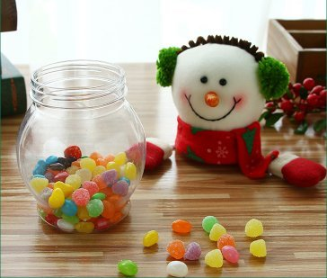 urgrace 3 piezas/set navidad Candy tarro de alce de Navidad y Papá Noel & Muñeco de nieve plástico Transparente Candy Jar Botella de regalo soporte de ...