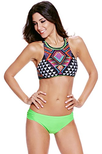 EVALESS Womens Halter Tankini Two Piece High Neck Bikini Green Large Size(FBA)
