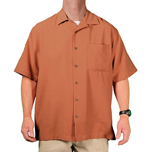 Eagle Dry Goods (Eagle Dry Goods Men's Washable Silk Camp Shirt, Terra Cotta, Size X-Large)