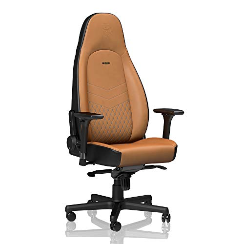 noblechairs ICON Gaming Chair - Office Chair - Desk Chair - Real Leather - Ergonomic - Cold Foam Upholstery - 330 lbs - Racing Seat Design - Cognac/Blue/Gunmetal