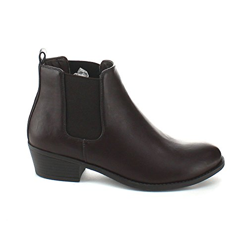 Almond Ankle Booties Flat Brown Simple Tildon 02 Heel Refresh Women's Toe Riding qwFtWTO