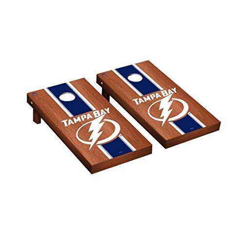 Tampa Bay Lightning Cabinet - Victory Tailgate Tampa Bay Lightning NHL Regulation Cornhole Game Set Rosewood Stripe Version