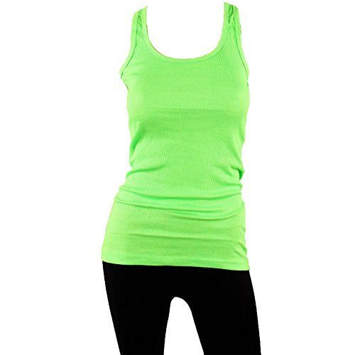 Sofra Women's Tank Top Cotton Ribbed-Large-Lime Green