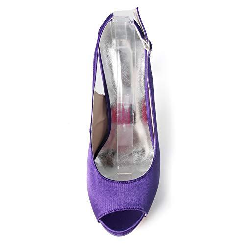 Royalblue Plate Mariée Satin De Talon Peep Hlg Pompes Tribunal Mariage Haut Chaussures Toe Femmes forme Soirée BpIzqZ