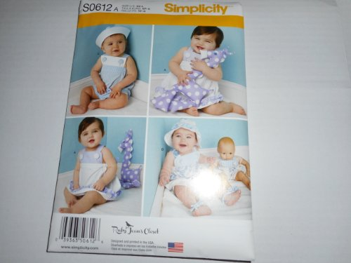 Simplicity Pattern S0612 Babies Sundress and Panties, Rompers and Hats, Barefoot Sandals, Romper for 15