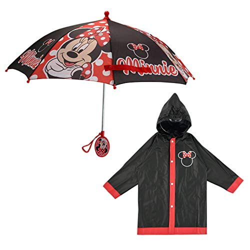 Disney Girls' Little Assorted Characters Slicker and Umbrella Rainwear Set, Minnie Mouse Black, Age 4-5