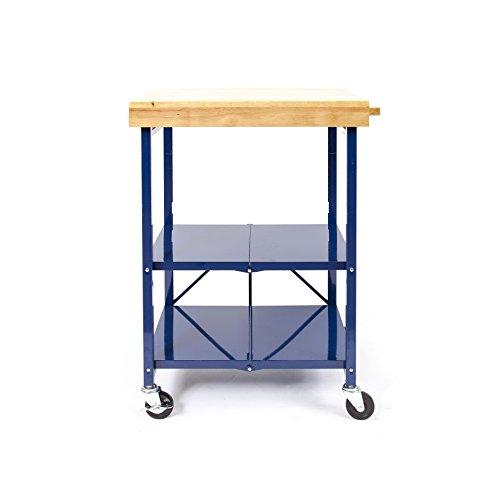 Origami Foldable Kitchen Island Cart, Blue