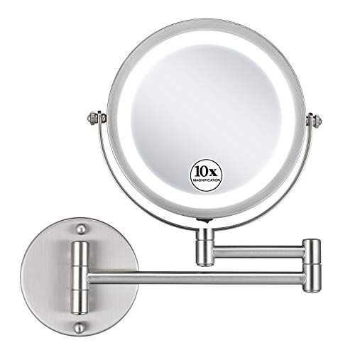 GloRiastar Cordless LED Wall Mounted Makeup Mirror with 1x/10x Magnification 360° Swivel -