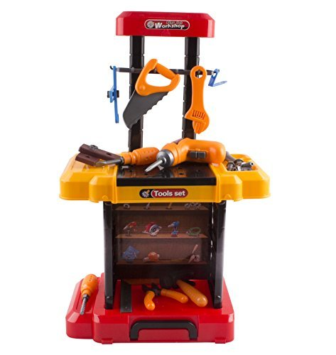 Toy Tool Kids 40 Piece Kit Construction Play Set Portable Working Fold-Able Work Bench Workshop With Drill Toy Tool Suitcase