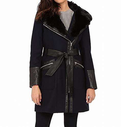 Wool Belted Coat Via (Via Spiga Women's Asymmetrical Faux Fur Belted Coat w/PU Detail Navy 18)