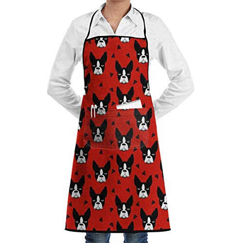 Boston Terrier Dog Kitchen Apron - Mens and Womens Professional Chef Bib Apron - Adjustable Straps with Pockets (Terrier Towel Kitchen)