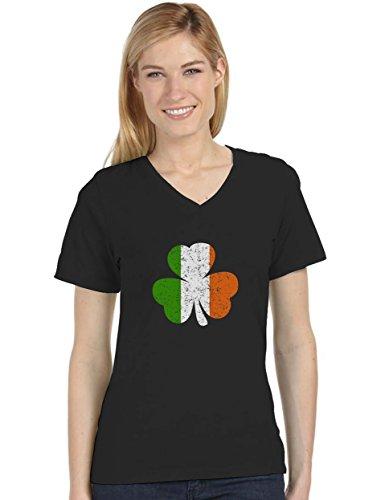 Ireland Shamrock - Distressed Irish Flag Clover St. Patrick's Day V-Neck Women T-Shirt XX-Large Black