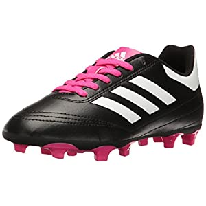 adidas Performance Kids' Goletto VI J Firm Ground Soccer Cleats, Black/White/Shock Pink, 11 Medium US Little Kid