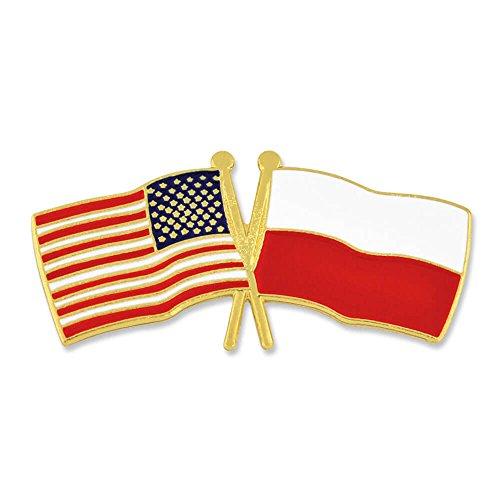 PinMart USA and Poland Crossed Friendship Flag Enamel Lapel ()