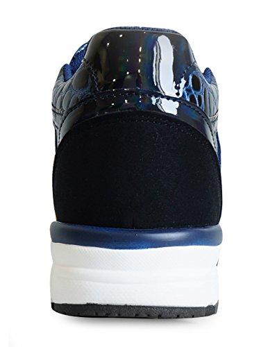 Mnx15 Damesliftschoenen Hoogtegroei 2.17 Miro Navy Sneakers Hoge Hak Sneakers Marine