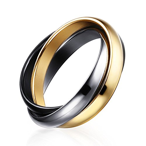 Meixao Stainless Steel Tri color Gold Plated,Rose, Tone Interlocked Rolling Wedding Band Ring for Women (Black(stainless steel), 9) (Wedding Stainless Steel Rolling Ring)