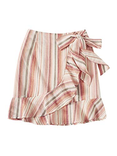WDIRARA Women's Elegant Summer Striped Ruffle Hem Knot Side Wrap Skirt Pink ()