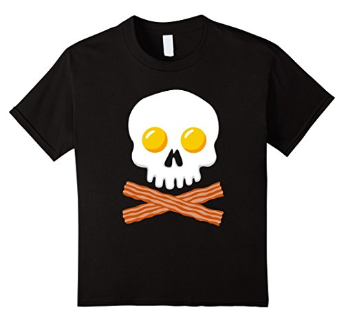 Kids Breakfast Skull Shirt Egg and Bacon Skull Crossbones Tshirt 12 Black