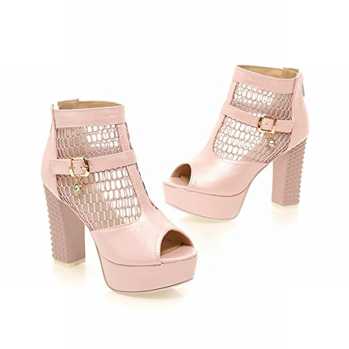 Chic Buckle Pink toe Heel Peep Summer Mesh Chunky Platform Zip Boots Carolbar Sweet High Voile Womens qCZ5Cn0B