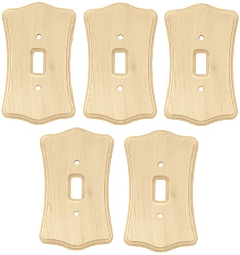 Liberty Hardware 64641 Wood Single Toggle Switch Wall Plate / Switch Plate / Cover, Unfinished Birch Set of 5 - Unfinished Birch