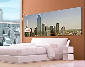 "Cuadro No.539 Impresionante Dallas 47,2 "" x15, 7 "" ( 120x40cm ) Ciudad, Skyline , vacaciones, EE.UU. - Canvas Art Wall, arte pared ,lienzo"