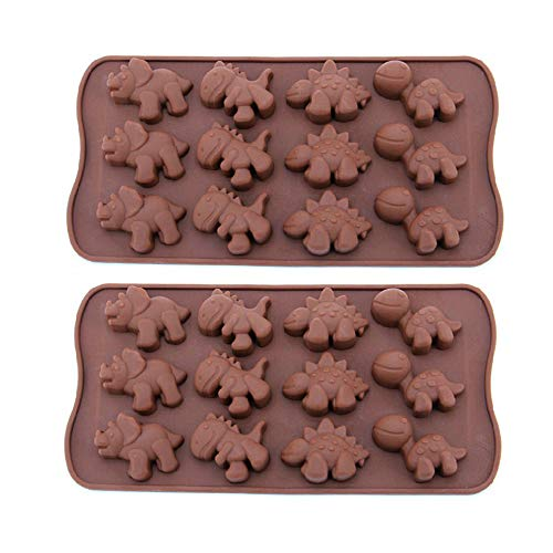 (12-Cavity Dinosaur Chocolate Molds Silicone Candy Molds, 2 Pack Non-stick Dinosaur DIY Mold for Making Crayons Soap Cake Decoration Jelly Chocolate Gummy Candy Ice Cube)