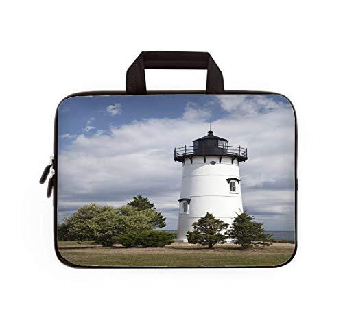 Double Zipper Laptop Bag,East Chop Lighthouse,13 inch Canvas Waterproof Laptop Shoulder Bag Compatible with 11.12.6