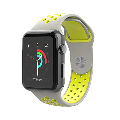 CIZITZZ Sport Band Compatible with Apple Watch 38mm/42mm, Soft Silicone Replacement Strap for iWatch Series 4/3/2/1 (Grey&Yellow, 42mm)