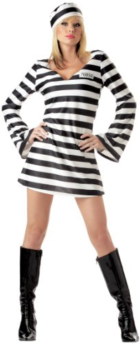 California Costumes Men's Convict Chick Costume, Black/White, (Womens Prisoner Costumes)