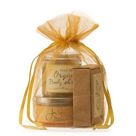 (Jensan 3-piece Handmade Bath and Beauty Gift Set in Organza Bag (cinnamon orange candle - orange scrub - cinnamon orange soap))
