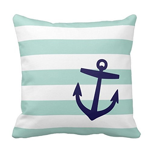 DEFFWB Home Style Fashion Pillowcase Mint and Navy Nautical Stripes and...