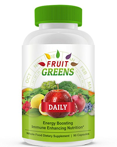 Fruit Greens Daily Organic Green Superfood Supplements (90 Count) (Supplement Vegetable Fruit)