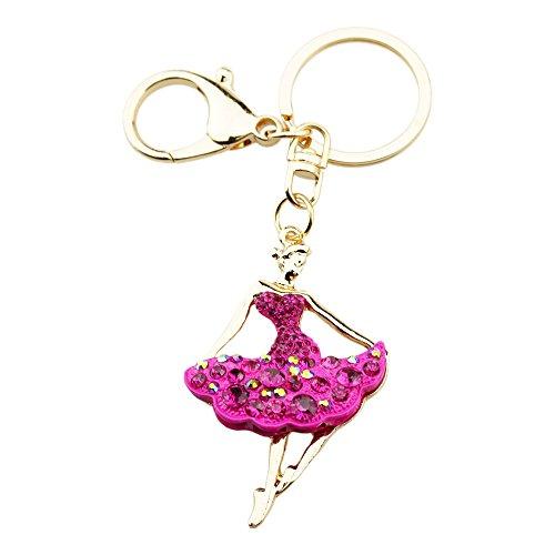 FOY-MALL Fashion Ballet Girl Rhinestone Alloy Women Bag Charm Keychain H1211M ()