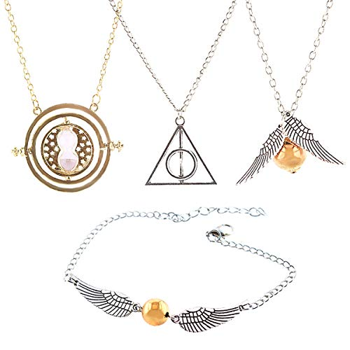 GeeVen 4 Piece Necklace Bracelet with The Deathly Hallows Golden Snitch Time Turner Chain Pendant Necklace for Harry Inspired Fans Gifts Collections